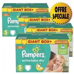 Pack jumeaux 550 Couches Pampers Active Baby Dry taille 5