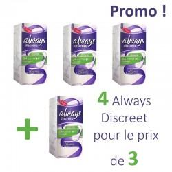 Pack économique 136 Serviettes hygiéniques Always Discreet - 4 Packs de 34 Serviettes hygiéniques taille Normal sur Promo Couches