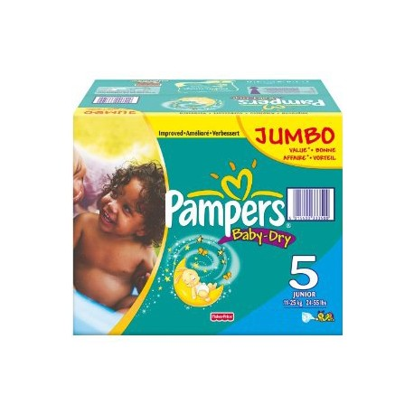 Pack 92 Couches Pampers Baby Dry taille 5 sur Promo Couches
