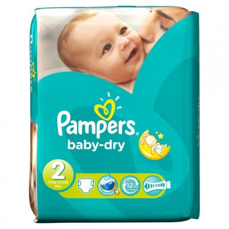 Pack 46 Couches Pampers Baby Dry taille 2 sur Promo Couches