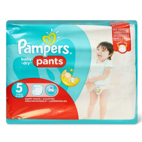 Pack 22 Couches Pampers Baby Dry Pants taille 5 sur Promo Couches
