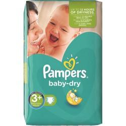 Pack d'une quantité de 111 Couches de la marque Pampers Baby Dry de taille 3+ sur Promo Couches