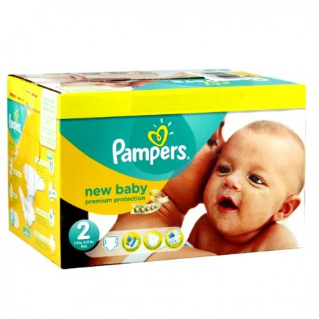 Maxi mega pack 403 Couches Pampers New Baby Premium Protection taille 2 sur Promo Couches