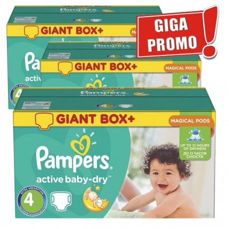 Giga pack 204 Couches Pampers Active Baby Dry taille 4 sur Promo Couches
