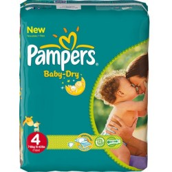 Pack 34 Couches Pampers Baby Dry taille 4 sur Promo Couches