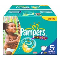 Mega pack 110 Couches Pampers Baby Dry taille 5+ sur Promo Couches