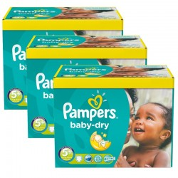 Giga pack 242 Couches Pampers Baby Dry taille 5+ sur Promo Couches