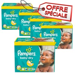 Maxi giga pack 330 Couches Pampers Baby Dry taille 5+ sur Promo Couches