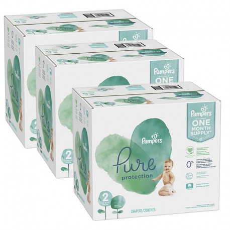 Maxi mega pack 459 Couches Pampers Pure Protection taille 2 sur Promo Couches