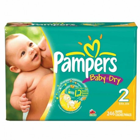 230 Couches Pampers Baby Dry taille 2 sur Promo Couches
