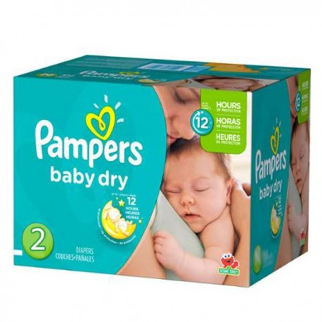Maxi mega pack 414 Couches Pampers Baby Dry taille 2 sur Promo Couches