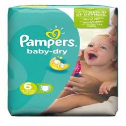 Pack d'une quantité de 58 Couches Pampers Baby Dry de taille 6 sur Promo Couches