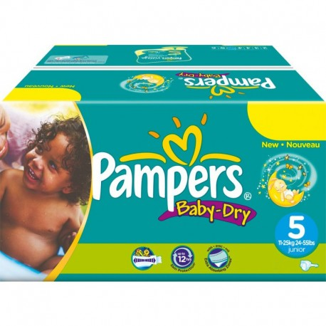 Mega pack 198 Couches Pampers Baby Dry taille 5 sur Promo Couches