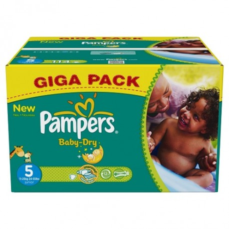 Giga pack 286 Couches Pampers Baby Dry taille 5 sur Promo Couches