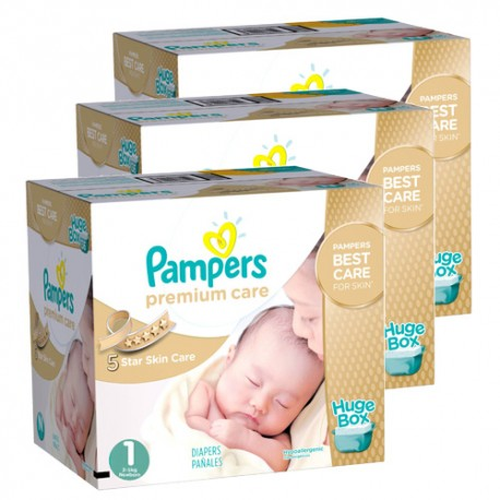 154 Couches Pampers New Baby Premium Care taille 1 sur Promo Couches