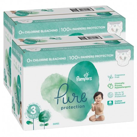 Mega pack 132 Couches Pampers Pure Protection taille 3 sur Promo Couches