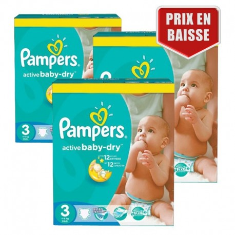Giga pack 204 Couches Pampers Active Baby Dry taille 3 sur Promo Couches
