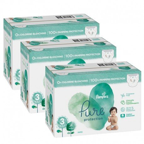 Maxi giga pack 352 Couches Pampers Pure Protection taille 3 sur Promo Couches