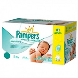 Maxi mega pack 448 Lingettes Bébés Pampers New Baby Sensitive sur Promo Couches