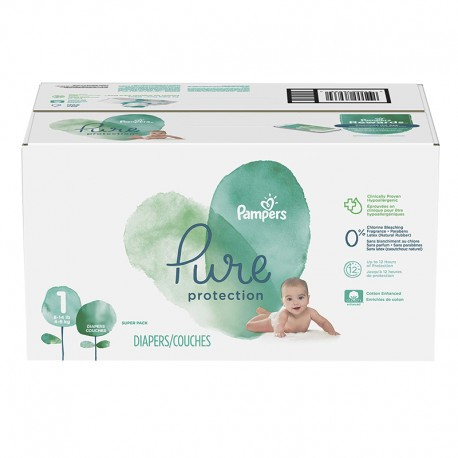 Pack 70 Couches Pampers Pure Protection taille 1 sur Promo Couches