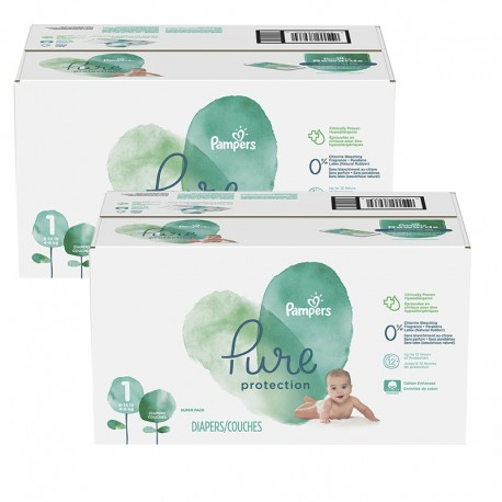 Mega pack 140 Couches Pampers Pure Protection taille 1 sur Promo Couches