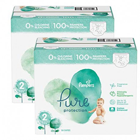 Mega pack 162 Couches Pampers Pure Protection taille 2 sur Promo Couches