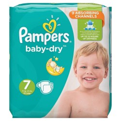 Pack 21 Couches Pampers Baby Dry taille 7 sur Promo Couches