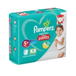Pack 48 Couches Pampers Baby Dry Pants taille 5+ sur Promo Couches