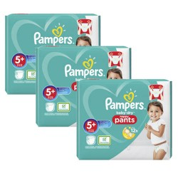 Pack 96 Couches Pampers Baby Dry Pants taille 5+ sur Promo Couches