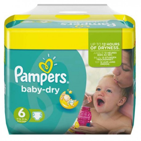 Pack 124 Couches Pampers Baby Dry taille 6 sur Promo Couches