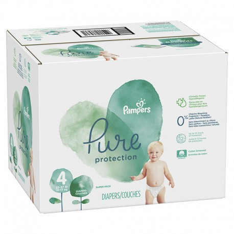 Mega pack 114 Couches Pampers Pure Protection taille 4 sur Promo Couches