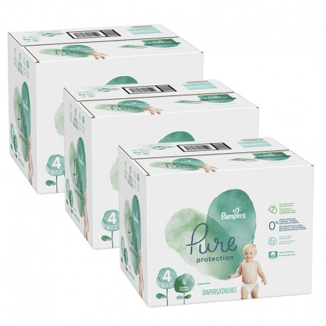Mega pack 152 Couches Pampers Pure Protection taille 4 sur Promo Couches