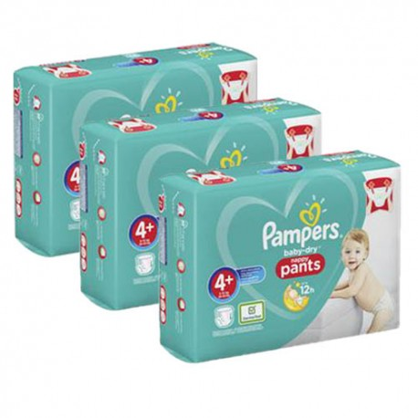 Pack jumeaux 594 Couches Pampers Baby Dry Pants taille 4+ sur Promo Couches