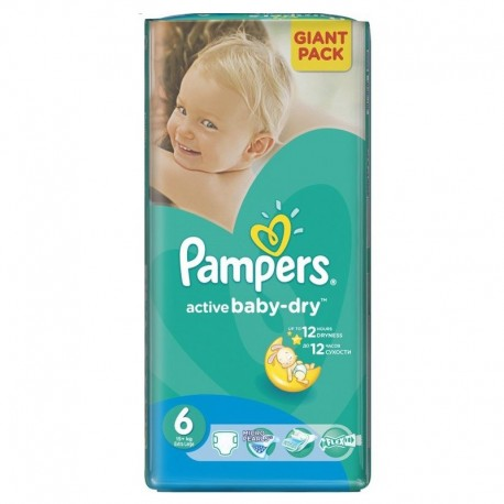 24 Couches Pampers Active Baby Dry taille 6 sur Promo Couches