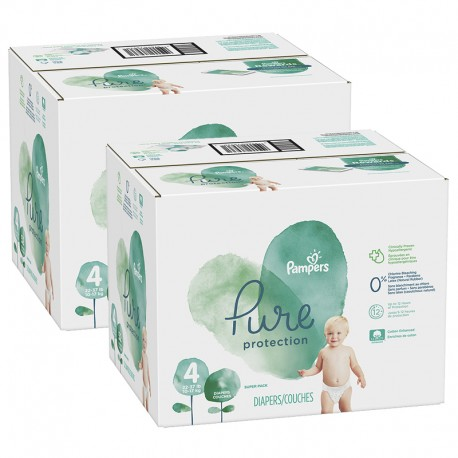 Maxi giga pack 380 Couches Pampers Pure Protection taille 4 sur Promo Couches