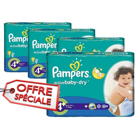 Pack 80 Couches Pampers Active Baby Dry taille 4+ sur Promo Couches
