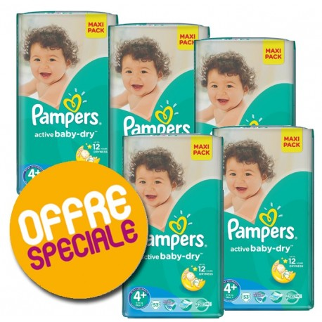 Maxi giga pack 320 Couches Pampers Active Baby Dry taille 4+ sur Promo Couches