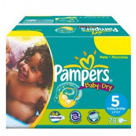 Pack 46 Couches Pampers Baby Dry taille 5 sur Promo Couches
