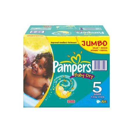 Pack 69 Couches Pampers Baby Dry taille 5 sur Promo Couches