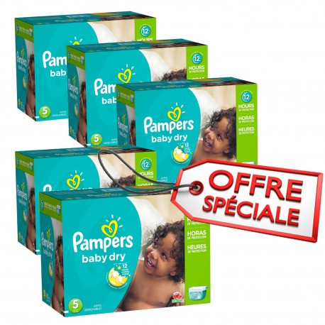 Mega pack 138 Couches Pampers Baby Dry taille 5 sur Promo Couches