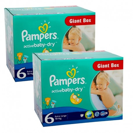 Pack 72 Couches Pampers Active Baby Dry taille 6 sur Promo Couches