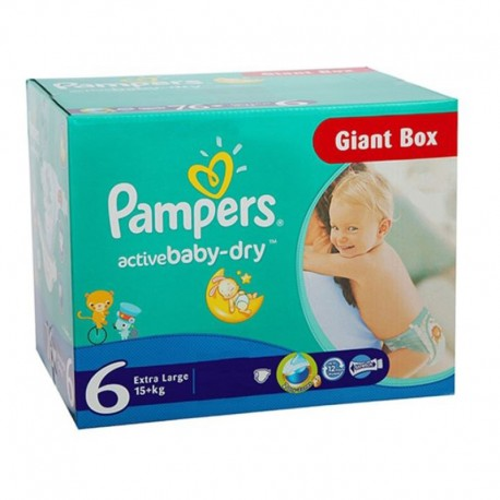 Giga pack 216 Couches Pampers Active Baby Dry taille 6 sur Promo Couches