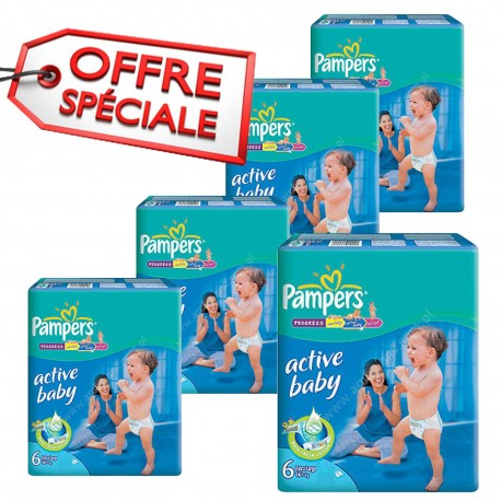 Giga pack 240 Couches Pampers Active Baby Dry taille 6 sur Promo Couches