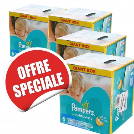 Maxi giga pack 312 Couches Pampers Active Baby Dry taille 6 sur Promo Couches