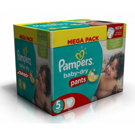 Mega pack 168 Couches Pampers Baby Dry Pants taille 5 sur Promo Couches