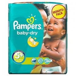 Pack 68 Couches Pampers Baby Dry taille 5+