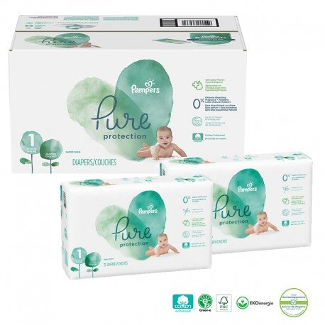 Mega pack 100 Couches Pampers Pure Protection taille 1 sur Promo Couches
