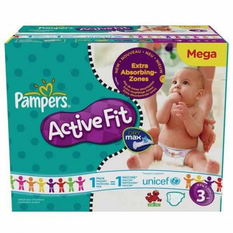 136 Couches Pampers Active Fit taille 3 sur Promo Couches