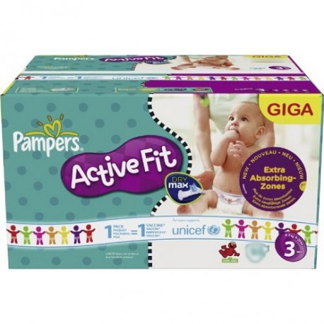Maxi mega pack 408 Couches Pampers Active Fit taille 3 sur Promo Couches