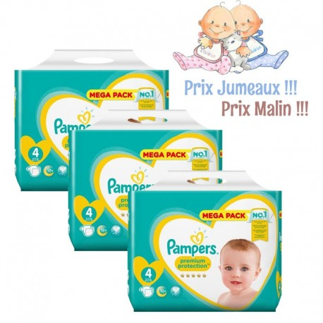 Pack jumeaux 768 Couches Pampers New Baby Premium Protection taille 4 sur Promo Couches